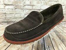 LL BEAN Mountain Chocolate Brown Fleece Lined Moccasin Slippers Men's 11 M