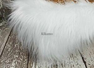 "20"" x 20"" Long Hair White Faux Fur Fabric Craft Costume Newborn Prop NEW!"
