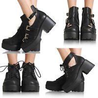 WOMENS LADIES CUT OUT ANKLE BLOCK MID HEEL BOOT GOLD BUCKLES SHOES SIZE 3-8