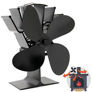 Heat Powered 4 Blade Stove Fan Eco Friendly Wood Fireplace Efficiency M&W