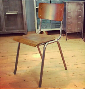 NEW VINTAGE SCHOOL CHAIR METAL & BENTWOOD PLY WOOD STACKING BAR CAFE INDUSTRIAL