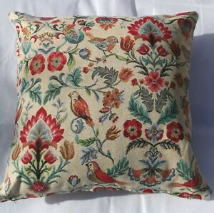 "William Morris cushion, 17x17"", Tapestry, Kapok, Handmade - Birds - hidden Zip"