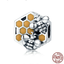 925 Silver Honey Bee Square Charms Beads Fit sterling original charm bracelets