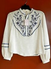 Nwt Free People Sundance Kid Embroidered White Henley Top Xs