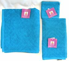 New 3Pc Set Wendy Williams Turquoise Blue 100% Cotton Bath+Hand Towel,Wash Cloth