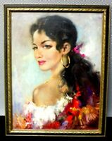 Mystery Artist Oil on Canvas Painting of Woman Portrait - Framed / Signed