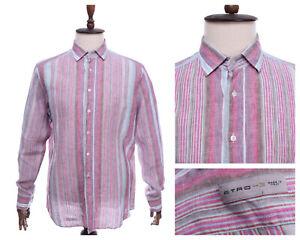 Men's ETRO Milano Multicolored 100% Linen Striped Shirt Size 43