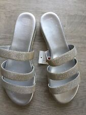 Silver Glittery Sandals 8