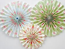 Floral paper pinwheel fan decorations hanging backdrop kit Wedding Tea Party