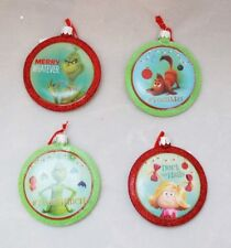 "Grinch Christmas Ornament Set 4 Green Red 3.5"" #TeamGrinch Kurt Adler Gift"