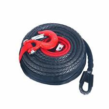 "Synthetic Winch Rope 92' x 1/2"" 22000Lbs + Clevis Hook Hawse Fairlead Red Kit"