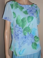 Plaza South Turquoise Blue Purple Green Sheer Short Sleeve Top Womens Large 14