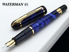 WATERMAN PHILEAS  BLUE MARBLE FOUNTAIN PEN MEDIUM PT   IN BOX @@