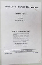 Vintage Sears Kenmore Electric Dryer Models 110.96310100 1993 USA Parts List