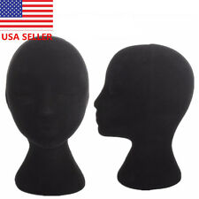 "New 11"" FEMALE Black STYROFOAM FOAM MANNEQUIN head display wig hat glasses USA"