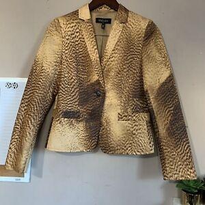 Escada Womens Long Sleeve Collared One Button Blazer Jacket Silk Blend Size 36