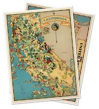 Two Map Set - California & USA by Ruth Taylor White circa 1933 - 18 x 24 prints