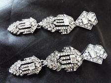 "Stylish 4"" Long Vintage ART DECO Style Silver Crystal Paste Drop Dangle Earrings"