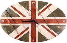 WOOD CLOCK  BRITISH FLAG  WALL HANGING BEST WOODEN SOUVENIR HOME  INTERIOR DECOR