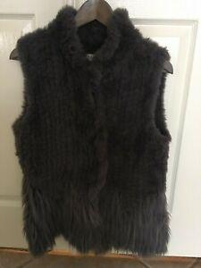 Neiman Marcus Faux-Fur Whisker Trim Vest - Size Large - STUNNING!!!
