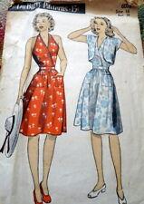 *Vtg 1940s Halter Dress & Bolero Du Barry Sewing Pattern 16/34 No Instructions