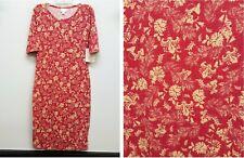LULAROE Size XS JULIA Red Cream Floral Flower Leaves Vines Asian Victorian Dress