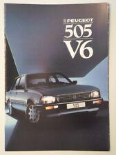 PEUGEOT 505 V6 SALOON orig 1987 UK Mkt Sales Brochure