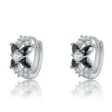 Platinum Plated Colouful Black White Cubic Zirconia Crystal Earrings (E799-39)