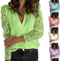 Womens Lace Long Sleeve T Shirt Ladies V Neck Blouse Casual Loose Tops Plus Size