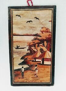 African Fine Wood Veneer Marquetry Village Lake Scene Picture Wall Plaque