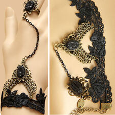 Victorian Gothic Lolita Black Lace Slave Bracelet Metal Chain Cameo Costume Ring