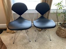 (2)Herman Miller Eames DKR-2 Dining Side Wire Chairs Black Leather Bikini Knoll