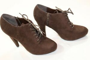 Charlotte Russe Brown Heeled Lace Up Ankle Booties Size 8