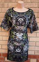 MISS SELFRIDGE JEWEL PRINT FRONT BLACK BAGGY OVERSIZED TUNIC SMOCK TEA DRESS 12