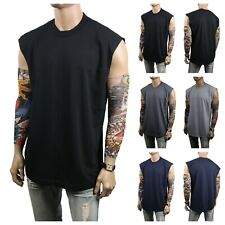 Men Heavy Weight Crew Neck Muscle T Shirt Tank Top Sleeveless Sport Active Gym