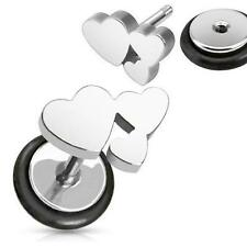 Earrings 316L Surgical Steel Heart Cluster Fake Plug 16 gauge - Pair.
