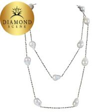 Baroque Pearl Black Diamond Gold 50 Inch Long Chain Necklace