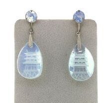 cd08ab86b Earrings Sterling Silver Pagoda cut glass light blue hue screw back  non-pierced