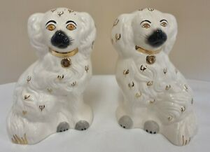 Pair of 2 Ceramic Spaniel Dogs Beswick England Pottery White Gold 1378-5 (D2)