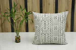 Boho Hand Block Printed Rug Cushion Cover Geometric Indian Mudcloth Pillow Cases