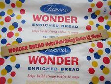 Vintage American Wonder Bread bread advertising waxed paper & wooden ruler .