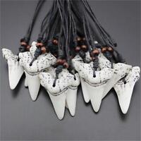 Yak Bone Jewelry Imitation  Shark Tooth Necklace White Teeth Amulet Pendant