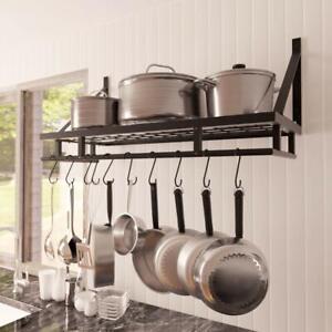45/60/90cm Kitchen Pan Pot Rack Wall Mounted Hanging Storage Shelf Organizer