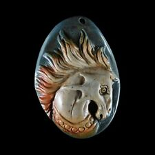 Hand Carved Hippocampus Pendant Bead GE900074