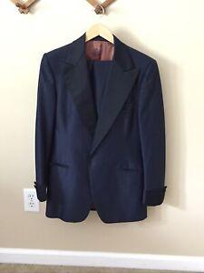Vintage 70s Midnight Blue Tuxedo Dual Vent Peak Lapel High Waisted Size 40R