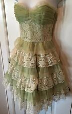 Betsey Johnson Formal Dress Lace Tulle Tiered Strapless SZ 0 Kawaii Lolita Prom