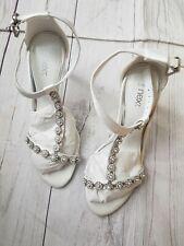 Next Size 3 Bridal Shoes Heels Diamonte Ankle Strap Wedding Summer Slingback
