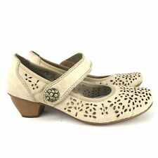 RIEKER Mid-Block Heel Beige Comfort Mary Jane Shoes Size UK 5 VGC