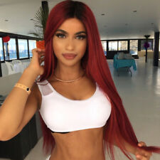 Long Straight Synthetic Hair Ombre Red Wig Middle Part Natural Wigs for Women