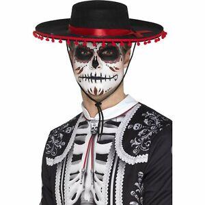 Black Red Day Of The Dead Spanish Senor Hat Halloween Mens Fancy Dress Accessory
